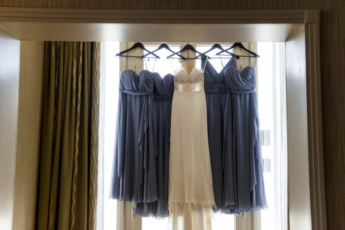 Prettiest Blues Georgetown Wedding - United With Love | Kristen Marie Photography | Illusion Neckline Bridal Gown with Lace