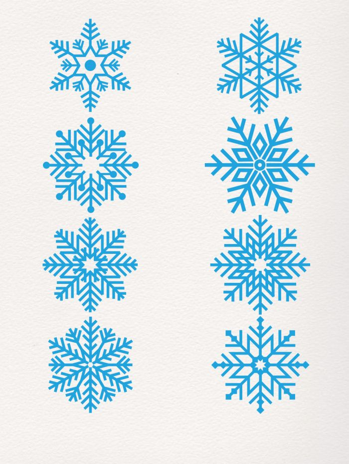 Simple Classic Blue Snowflake Decoration Editable File For