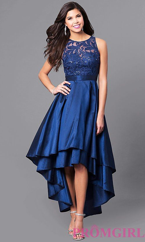 54b033621411ab High-Low Prom Dress With Embroidered Illusion Bodice. High-Low Prom Dress  With Embroidered Illusion Bodice Plus Size Dressy Dresses, Junior Formal