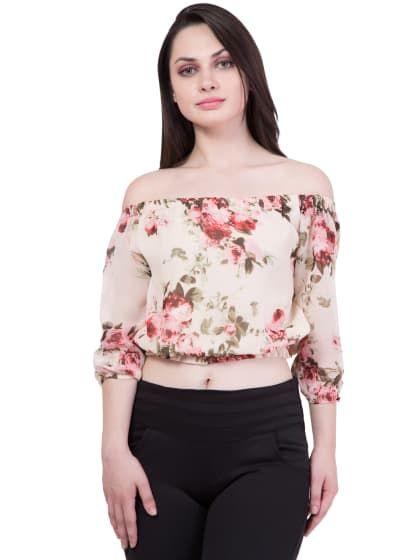720fe057437 Beige Floral Crop Top With 3/4 Sleeve | Only on affela.wooplr.com | Best  Tops Online