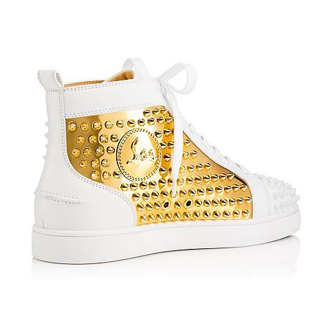 Louis Spikes Men\u0027s Flat Latte/Gold Leather - Men Shoes - Christian Louboutin