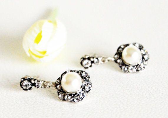 art deco clear crystal swarovski pearl rhinestone by sestras
