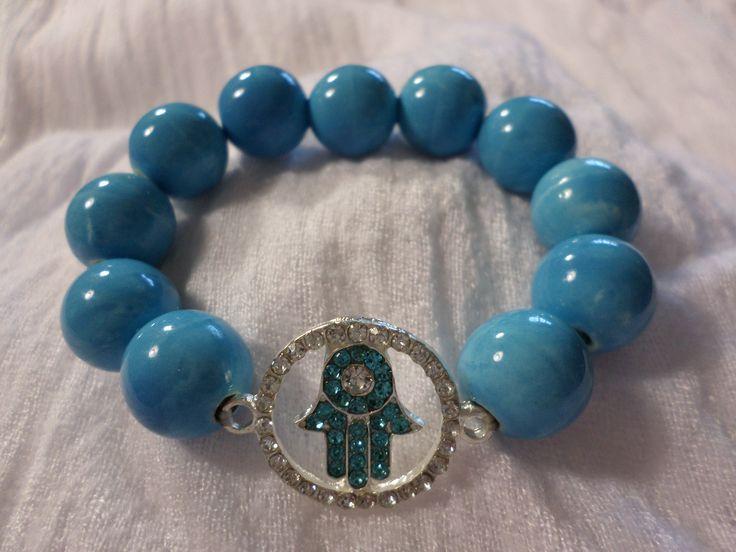 Turquoise Hamsa Hand Bracelet    #hamsahand #evileye #hamsa #bracelet #beads #isaacsjewellery