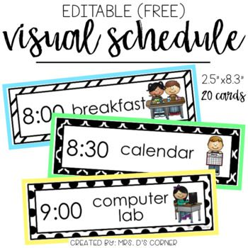 "FREE * Use this editable visual schedule to create individual or whole group schedules for your classroom. What is included? 20 editable visual schedule cards with picturesCards measure 2.5""x8.3"" in size.Mount on colorful paper to add pops of color.Editable in PowerPoint.Need more out of your classroom visual schedule?You may like this Top Selling Visual Schedule: CLICK HEREConnect with me: Newsletter  Blog  Facebook  Instagram  Pinterest  Don't forget about the green  to follow my store to…"