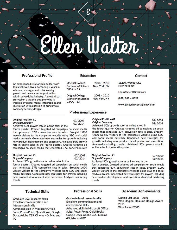 11 best The Ellen Walter Personal Branding Kit images on Pinterest - google docs resume cover letter template