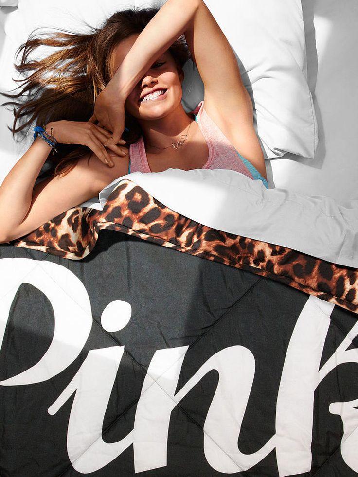 Victoria Secret PINK Logo Leopard/Black Bed in a Bag Comforter/Sheet Set Twin XL #VictoriasSecret