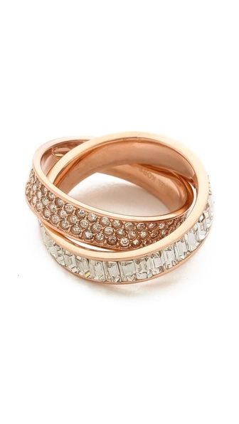 pave intertwined baguette ring - love this!