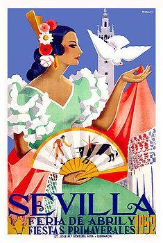 1952 Seville Spain April Fair Poster,seville april fair,andalusia,seville,spain,flamenco,sevilla,poster art,vintage poster,festival,andalusia, easter,fiesta,sevillana,tapas,spanish,travel,tourism,feria,semana santa,fiesta,spring,bull fight,torero,spanish poster