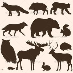 Vector Set of Forest Animals Silhouettes - Animals Characters