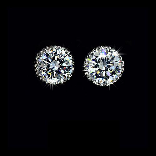 2CT Round Cut Russian Lab Simulated Diamond Solitaire 14K White Gold Stud Earrings Birthday Graduation Wedding Anniversary