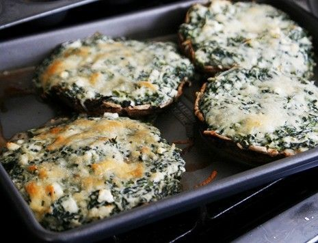 Stuffed Portobello Mushrooms with Spinach, feta, cream cheese and Parmesan cheese Recipe!! So making these tomorrow!!!