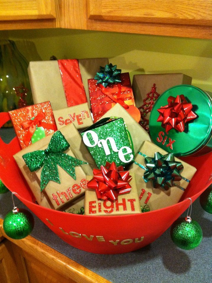 christmas advent bucket i made for the boyfriend instead of the usual stocking!: