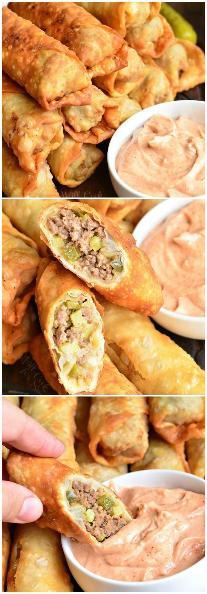 Cheeseburger Egg Rolls, stuffed with juicy ground beef, melted cheese, and pickles. from willcookforsmiles.com