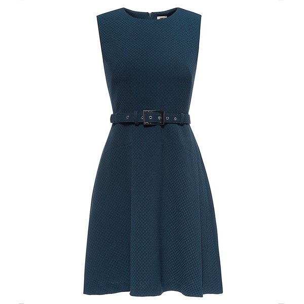 LA JINIRR Womens 1960'S Classical Fit-and-Flared Cocktail Dress with... ❤ liked on Polyvore featuring dresses, blue fit-and-flare dresses, belted dress, fit and flare dress, blue fit and flare dress and fit and flare cocktail dress