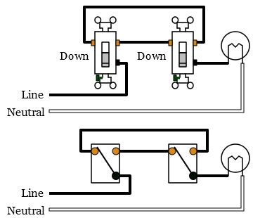 schema cablage for three way switch