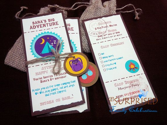 12 CAMPING BIRTHDAY INVITATIONS.  Birthday party by GetSurprised