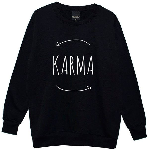 Karma Boyfriend Oversized Sweater Jumper Womens Ladies Fun Tumblr... ($28) ❤ liked on Polyvore featuring tops, hoodies, sweatshirts, sweaters, shirts, black, women's clothing, boyfriend fit shirt, over sized shirts and hipster shirts