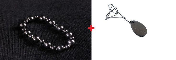 Female bracelet Schungite+Pendant - Amulet. Products on sale! by ShungiteofKarelia on Etsy