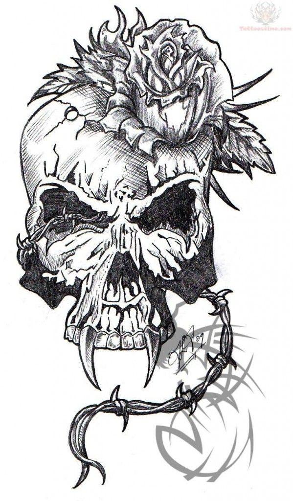 Flaming Army Skull Tattoo Design Photo - 1