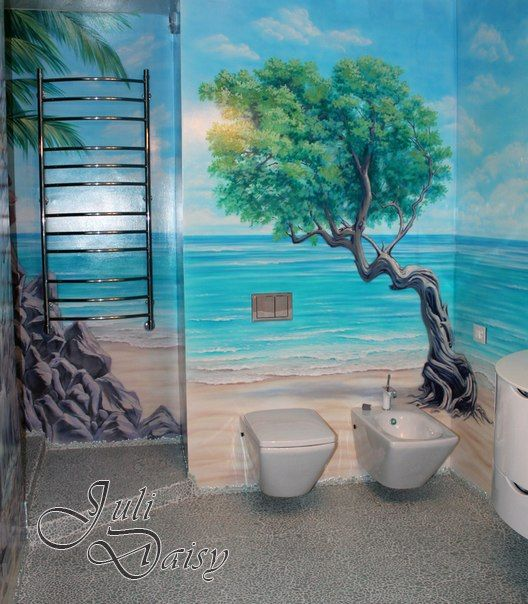 Amazing Bathroom Custom Painted Wall Mural | Hand Painted Wall Mural Idea