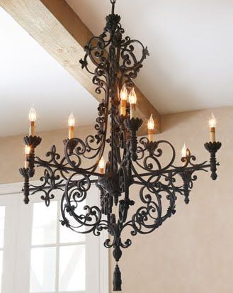Black iron chandelier...I absolutely love this!!