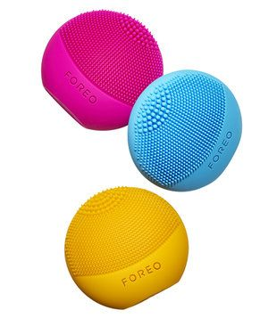 Palm-size and portable (no charger needed), these cleansing brushes have silicone nubs that pulsate 8,000 times a minute to give a deep clean. Apply face wash, then glide the device over skin.