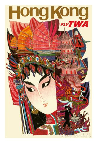 Hong Kong - Trans World Airlines Fly TWA Giclee-vedos AllPosters.fi-sivustossa