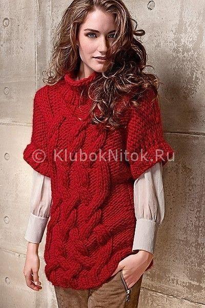 Свитер с косами | Вязание для женщин | Вязание спицами и крючком. Схемы вязания.
