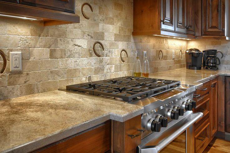 Kitchen Backsplash Rustic custom full height backsplash with horseshoe prints #country
