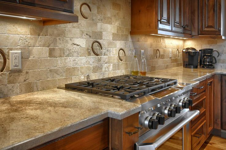 full height backsplash with horseshoe prints country rustic kitchen
