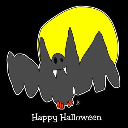 Happy Halloween vleermuis - Halloween kaarten - Kaartje2go