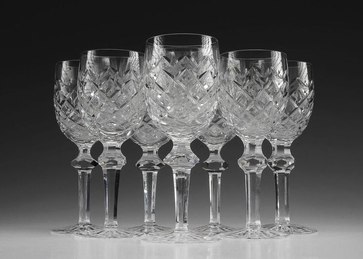 set of eight powerscourt by waterford crystal wine glasses - Waterford Crystal Wine Glasses