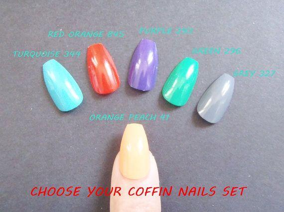 coffin bright color ballerina false nails uñas by LaSoffittaDiSte