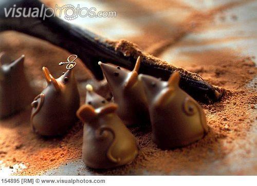 Small chocolate mice.