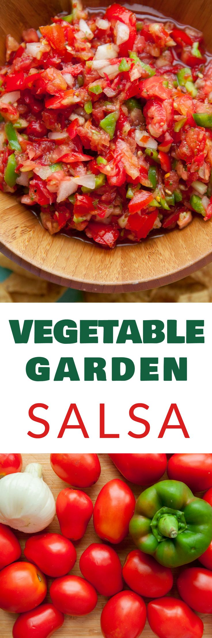 SUPER FRESH Vegetable Garden Salsa straight from your garden! This easy HOMEMADE recipe is made in minutes filled with tomatoes, onion, peppers, cilantro, and red pepper flakes! Friends BEG for me to make this salsa because it's everyone's favorite! Serve with Chips or with your next Mexican meal!