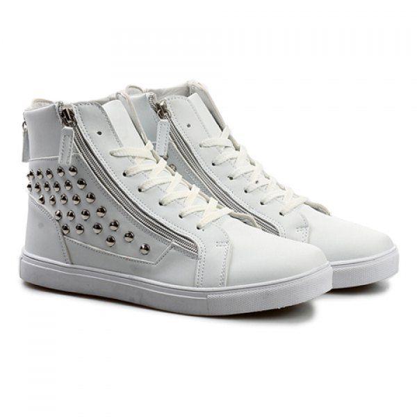 Fashion Rivets and Zipper Design Boots For Men, WHITE, 44 in Men's Shoes | DressLily.com