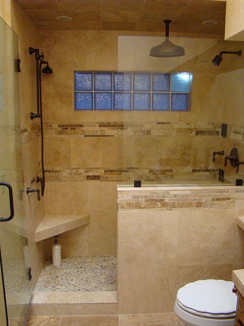 Travertine showers | travertine shower design and build travertine shower with pebble floor ...