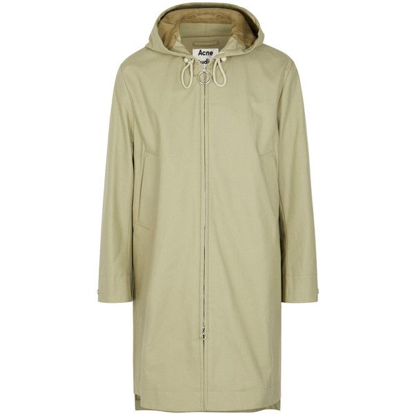 Acne Studios Melt Taupe Hooded Twill Parka - Size 42 (48.080 RUB) ❤ liked on Polyvore featuring outerwear, coats, mens parka coats and mens twill coat