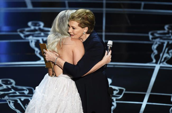 Lady gaga with Julie Andrews Oscars 2015 Oscars 2015: Julie Andrews 'Deeply Honored' by Lady Gaga's 'Sound of Music' Tribute