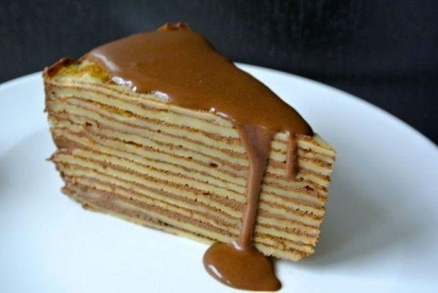 Pannenkoek taart met chocolade