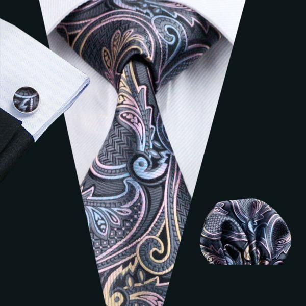 Gray,Blue,Pink and Gold Paisley Necktie Set LBW454
