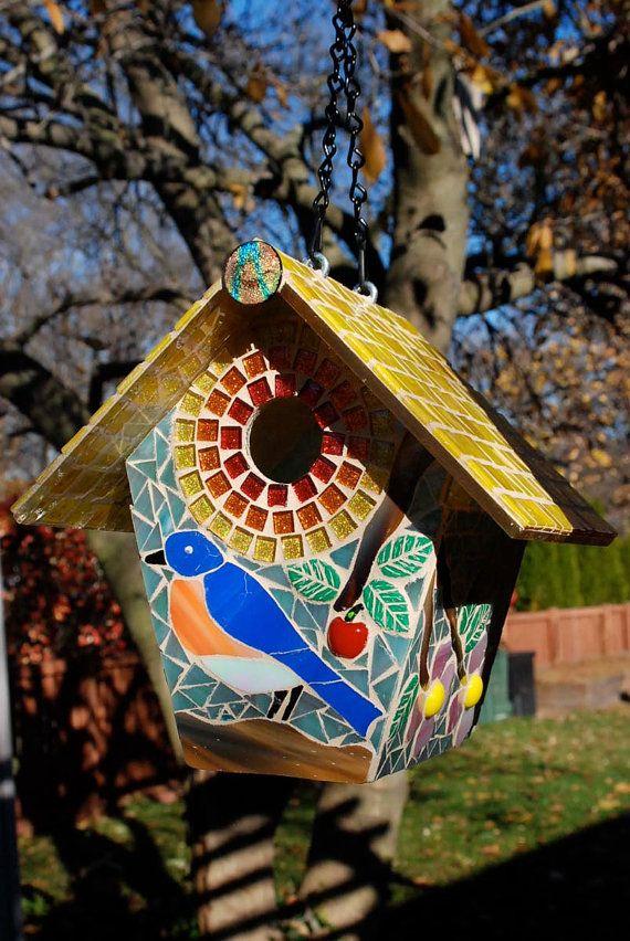 Birdhouse Stained Glass Mosaic Blue Bird by NatureUnderGlass, $90.00