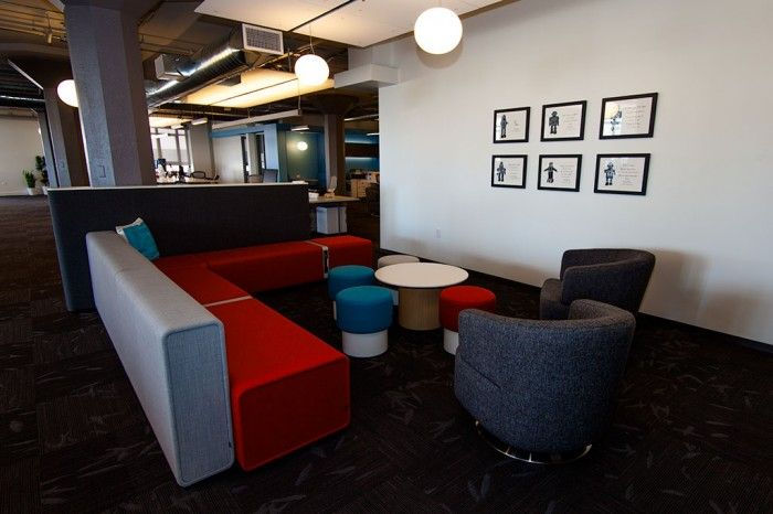 Check Out Twitter's New San Francisco Headquarters - Office Snapshots: Seats Area, Offices Spaces, Modern Offices Design, Colors Palettes, Lounges Furniture, Offices Workspaces, San Francisco, Offices Room, Lounges Area