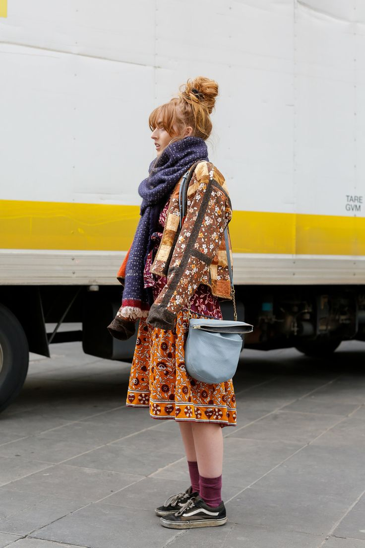 Eloise. Bourke St, Melbourne.        I got this dress from Gorman as a birthday present, my scarf is Leonard     St, I'm not sure where my jacket is from and these socks are my     friends.I don't buy something to match something else, I just buy it     because I like it, then layer it on