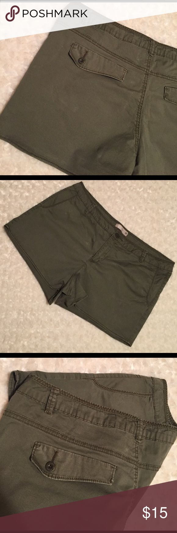 "Army Green Booty Shorts Worn once. Size 18 misses. Nice stretch. About a 1-2"" inseam. Classic army green color. NO TRADES Route 66 Shorts"