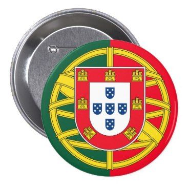 Portuguese flag quality pinback button Zazzle_button