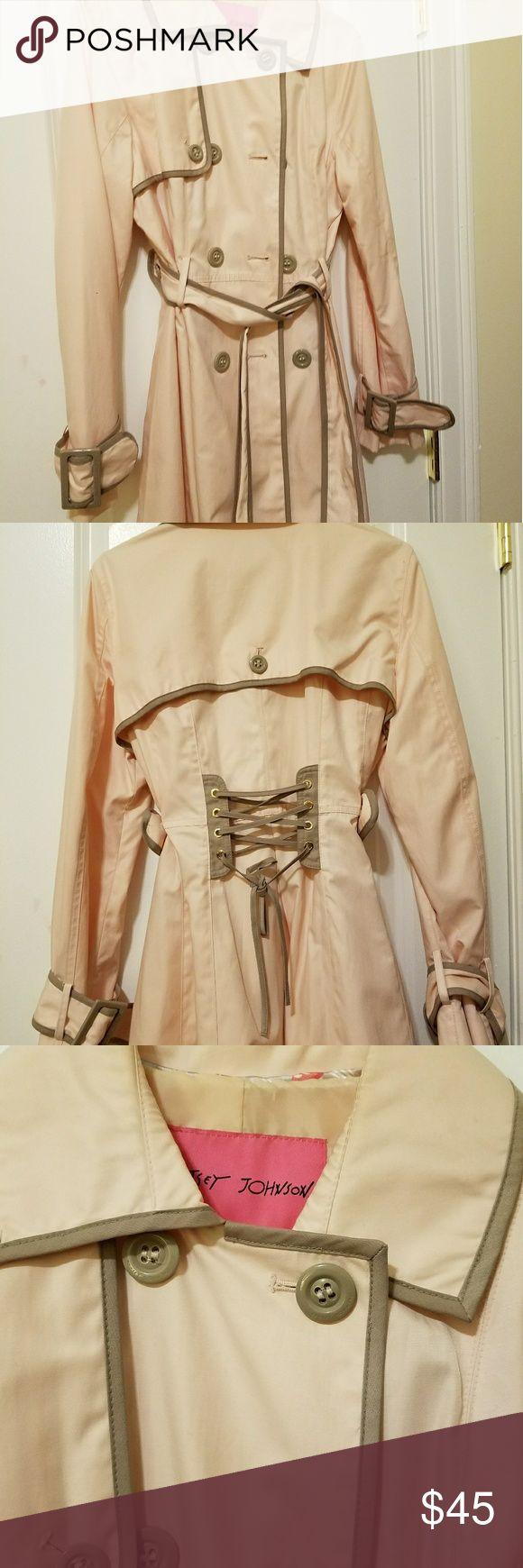 Light pink and gray Betsy Johnson raincoat Brand new, never worn, smoke free, no tags though Betsey Johnson Jackets & Coats Trench Coats