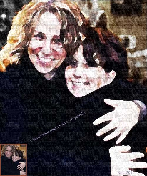 Watercolor painting of Carrie + her friend Nathalie