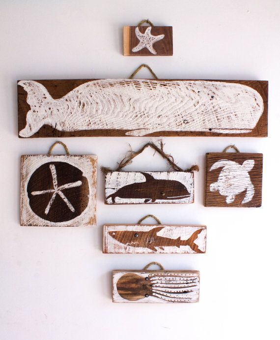 Beach Decor Sea Life Collection Wall Hanging Handmade Reclaimed Wood Whale Sand Dollar Shark Sea Turtle Octopus Starfish Kids Room Nursery