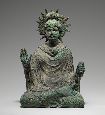 Seated Buddha, 1st–mid-2nd century a.d. Pakistan, ancient region of Gandhara. Bronze with traces of gold leaf. #buddha #buddhism #buddhist #sculpture #statue #art